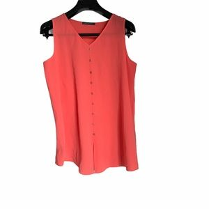 Coral sleeveless tank top blouse scoop neckline
